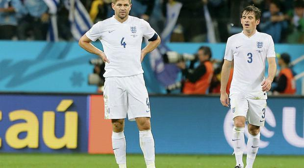 Steven Gerrard reacts after England conceded a second goal against Uruguay