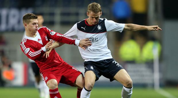 Falkirk defender Stephen Kingsley, left, has agreed a three-year deal with Swansea