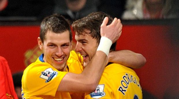 Southampton's Jay Rodriguez, right, and Morgan Schneiderlin, left, have both been linked with moves to Tottenham