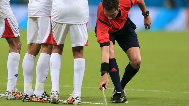 Vanishing foam spray is to be used by referees in the Premier League