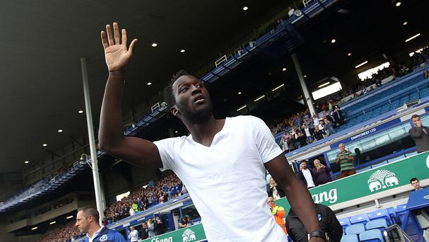 Romelu Lukaku was presented at half-time to Everton fans