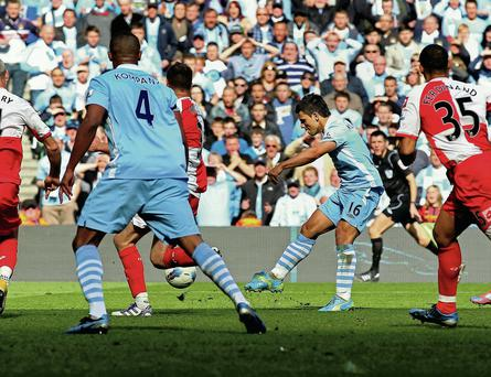 THE goal: Sergio Aguero clinches the title for Manchester City with an injury-time winner