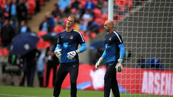 Willy Caballero, right, rather than Joe Hart started the Community Shield