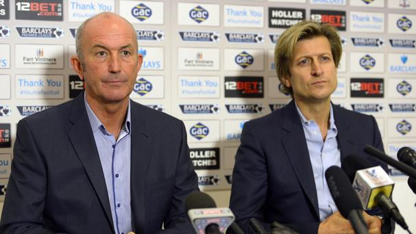 Steve Parish, right, and Tony Pulis, left, no longer work together