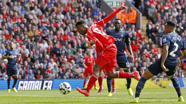 Daniel Sturridge gets the slightest of touches on Raheem Sterling's header to hand Liverpool all three points