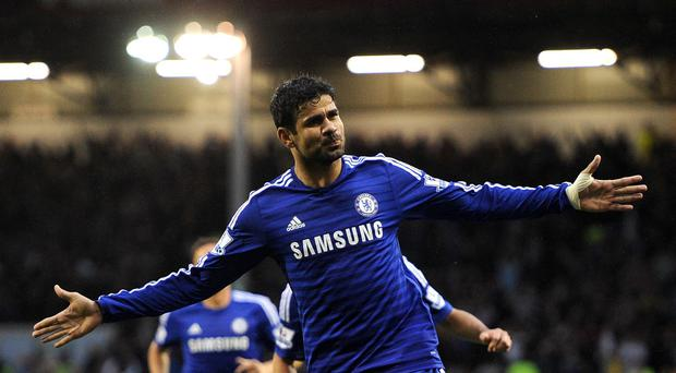 Diego Costa celebrates scoring Chelsea's first goal in their 3-1 win over Burnley