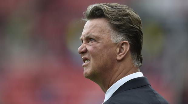 Louis van Gaal, pictured, was annoyed Ashley Young was not awarded a penalty