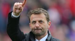 Tim Sherwood, pictured, has been impressed with how Mauricio Pochettino has handled himself at Tottenham