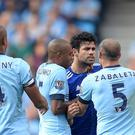 Manchester City's Pablo Zabaleta (right) argues with Chelsea's Diego Costa during last season's encounter