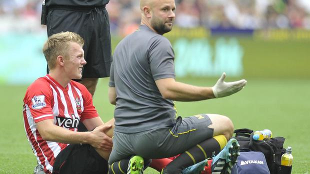 James Ward-Prowse, left, is expected to miss 10 weeks of football after fracturing a foot