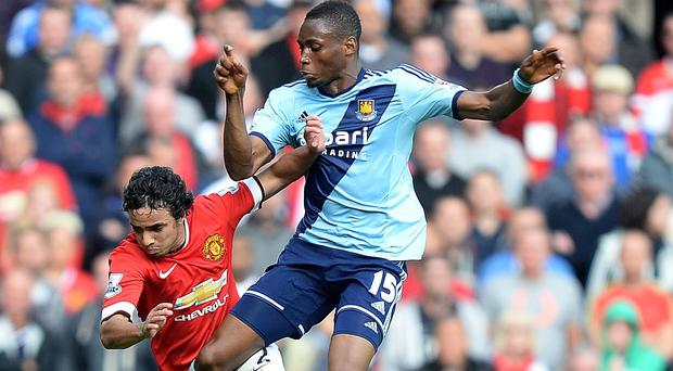 Diafra Sakho, right, was thought to have clashed with Luke Shaw in an off-the-ball incident