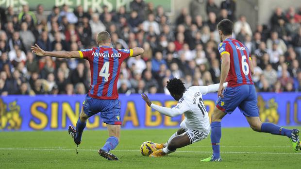 Wilfried Bony opened the scoring but Swansea were pegged back by Crystal Palace