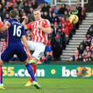 Ryan Shawcross headed Stoke into an early lead as Manchester United dropped more points on the road