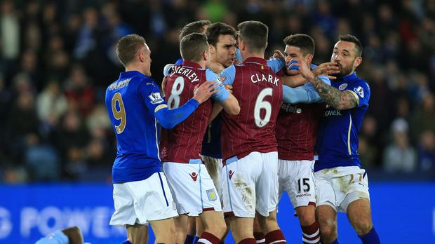 Leicester have been fined £20,000 for their part in an end-of-game brawl with Aston Villa last Saturday