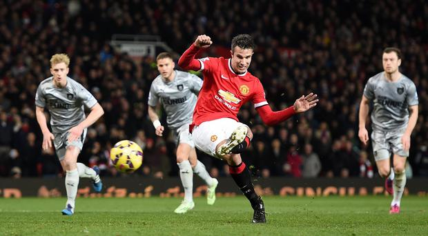 Manchester United's Robin Van Persie scored his side's third goal of the game