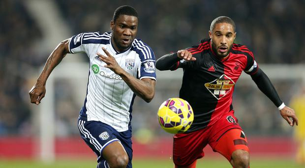 Brown Ideye, left, scored for West Brom