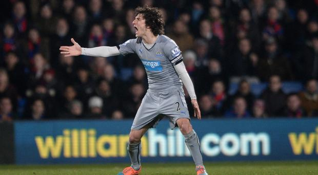 Fabricio Coloccini was struck by a coin when celebrating a goal at Selhurst Park