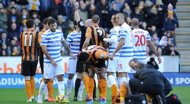 Anthony Taylor sends off QPR's Joey Barton