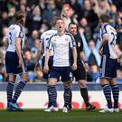 West Brom's Gareth McAuley, right, was wrongly sent off by referee Neil Swarbrick