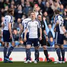 Gareth McAuley, far right, is sent off in error during West Brom's 3-0 defeat at Manchester City