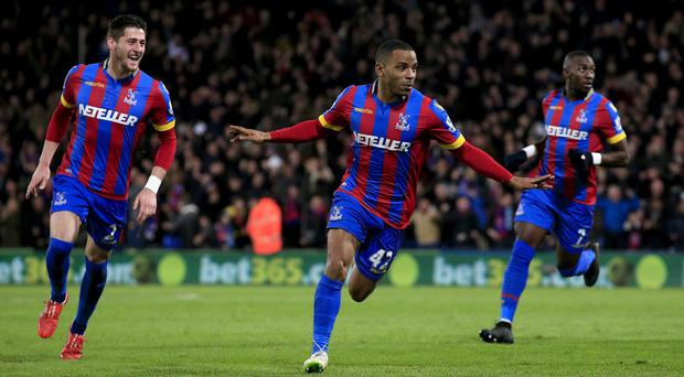 Crystal Palace's Jason Puncheon celebrates scoring his side's second goal of the game