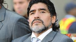 Diego Maradona, pictured, says Louis van Gaal's treatment of Radamel Falcao has been poor