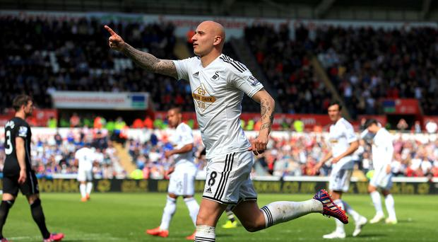 Jonjo Shelvey celebrates his Swansea equaliser in the 1-1 draw with Everton at the Liberty Stadium.