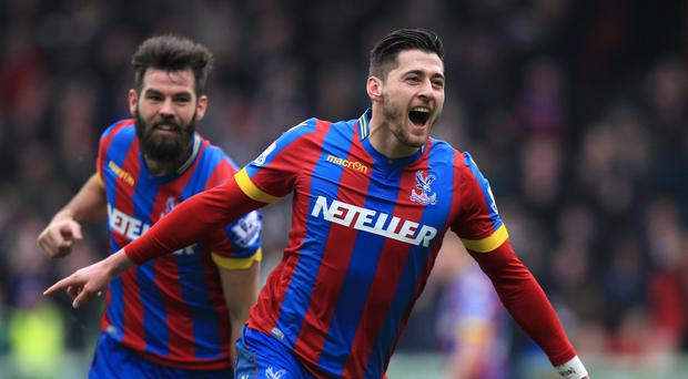 Crystal Palace's Joel Ward, right, has signed a new deal at Selhurst Park