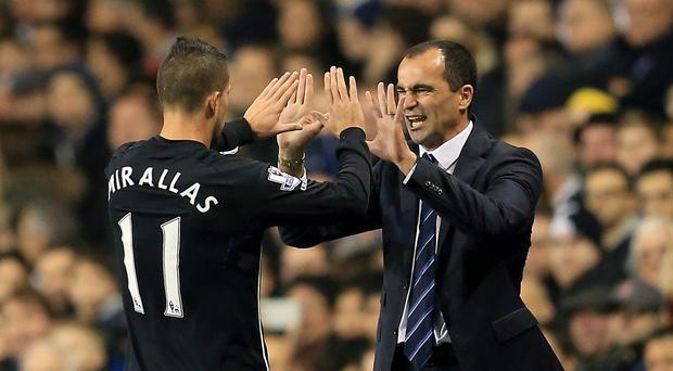 Everton manager Roberto Martinez, right, believes keeping Kevin Mirallas happy is key to his future