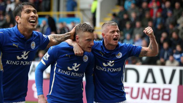 Jamie Vardy, centre, handed Leicester the victory