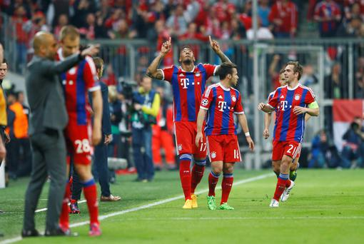 Bayern's Jerome Boateng celebrates after scoring his side's 2nd goal against FC Porto