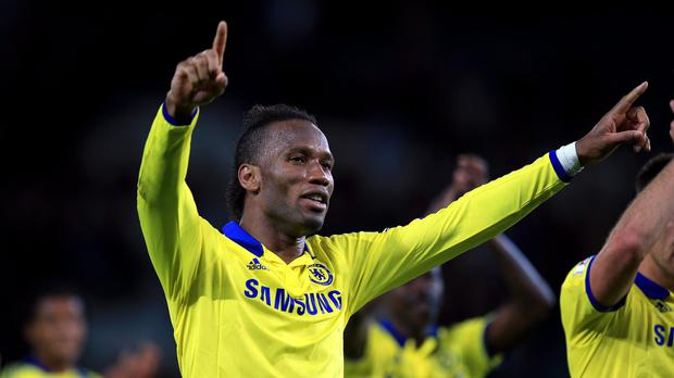 Chelsea's Didier Drogba celebrates after their 3-1 win at Leicester on Wednesday