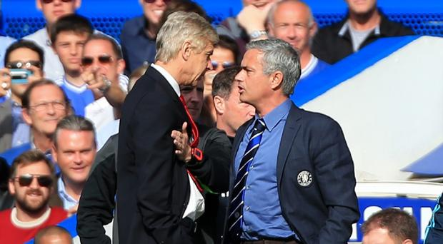 Jose Mourinho, right, and Arsene Wenger, left, clashed on the touchline at Stamford Bridge