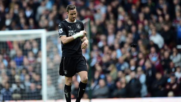 Michael Duff was sent off as Burnley slipped closer to relegation with defeat at West Ham