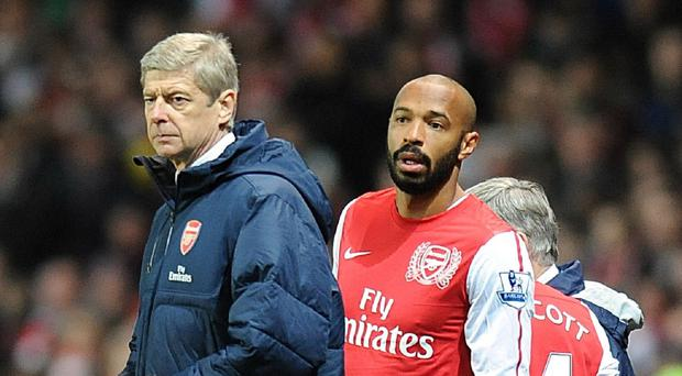 Arsene Wenger, left, believes former Arsenal captain Thierry Henry, right, is wrong about the strength of his squad