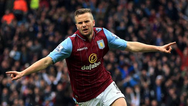 Tom Cleverley is enjoying himself at Villa Park