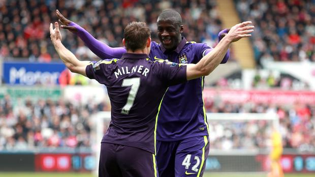 Yaya Toure netted twice for Manchester City