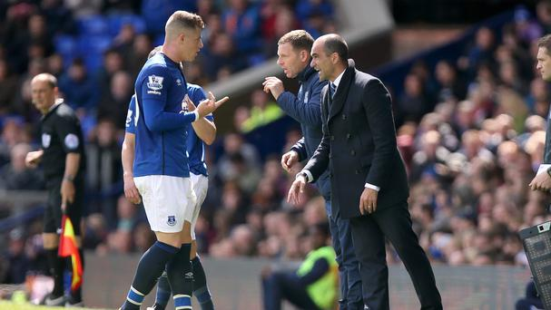 Everton manager Roberto Martinez, right, is happy Ross Barkley will not be playing for England's Under-21s this summer
