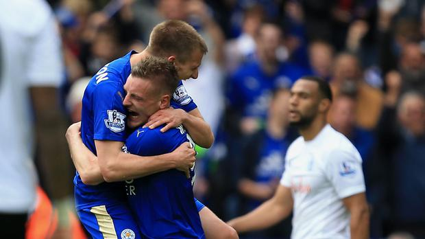 Marc Albrighton, left, celebrates scoring with fellow goalscorer Jamie Vardy