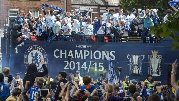 The Chelsea squad celebrate their successful campaign