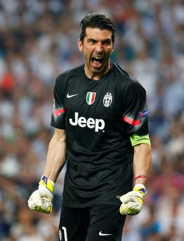 Buffon celebrates after knocking out Real Madrid in the Champions League semi-final