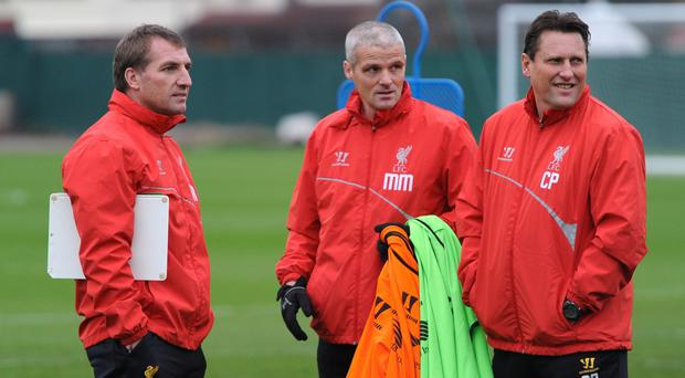 Brendan Rodgers with Mike Marsh and Colin Pascoe, who have both been sacked by Liverpool