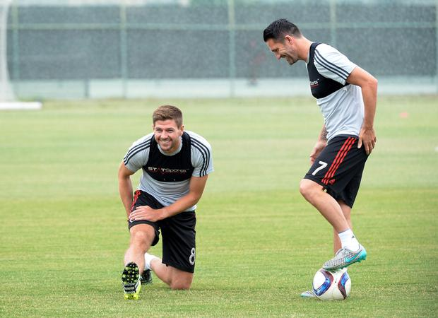 Steven Gerrard training with LA Galaxy