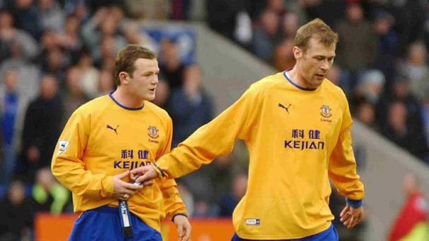 Wayne Rooney, left, and Duncan Ferguson were Everton team-mates during the previous decade