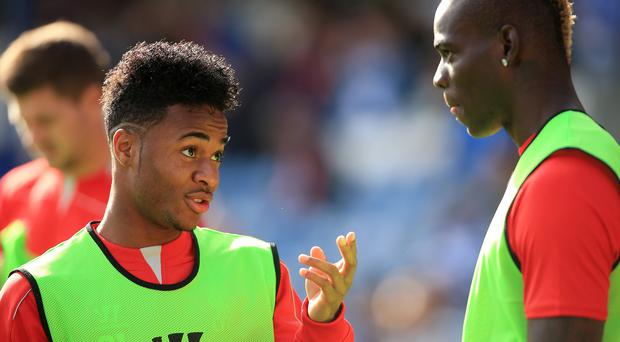 Mario Balotelli, right, sent a congratulatory message to Raheem Sterling, left, on Tuesday