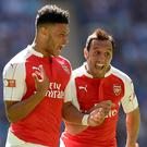 Alex Oxlade-Chamberlain, left, scored the only goal as Arsenal lifted the Community Shield