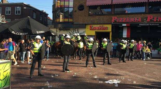 A view of the scene in Arnhem, where fans have clashed ahead of the Europa League tie