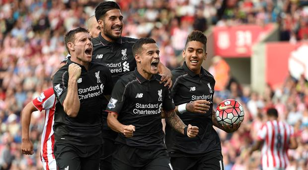 Liverpool celebrate Philippe Coutinho's goal