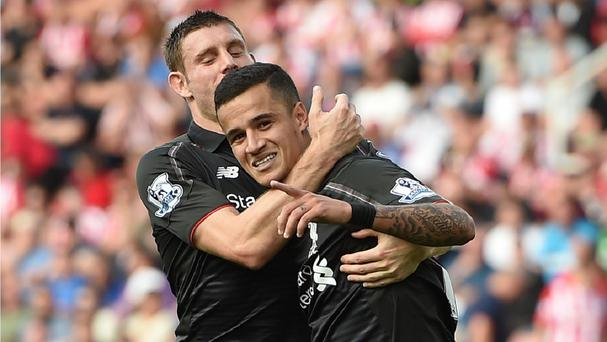Liverpool's Philippe Coutinho came up with a late winner in a 1-0 victory at Stoke.