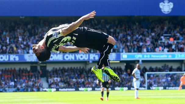 Emmanuel Riviere celebrating his only league goal at QPR last year